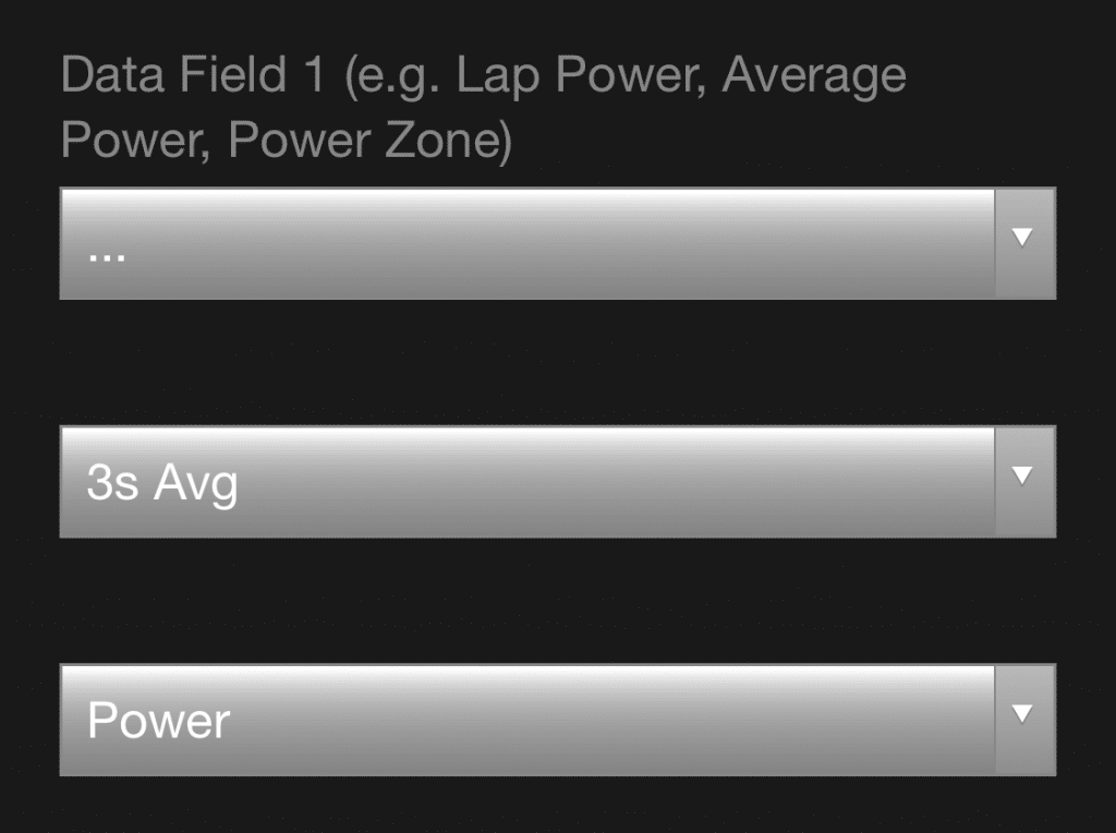 3s Avg Power - Run Power Data Field