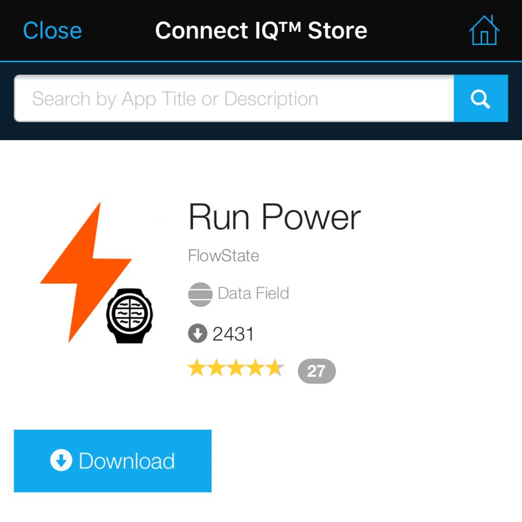 Run Power in the ConnectIQ Store