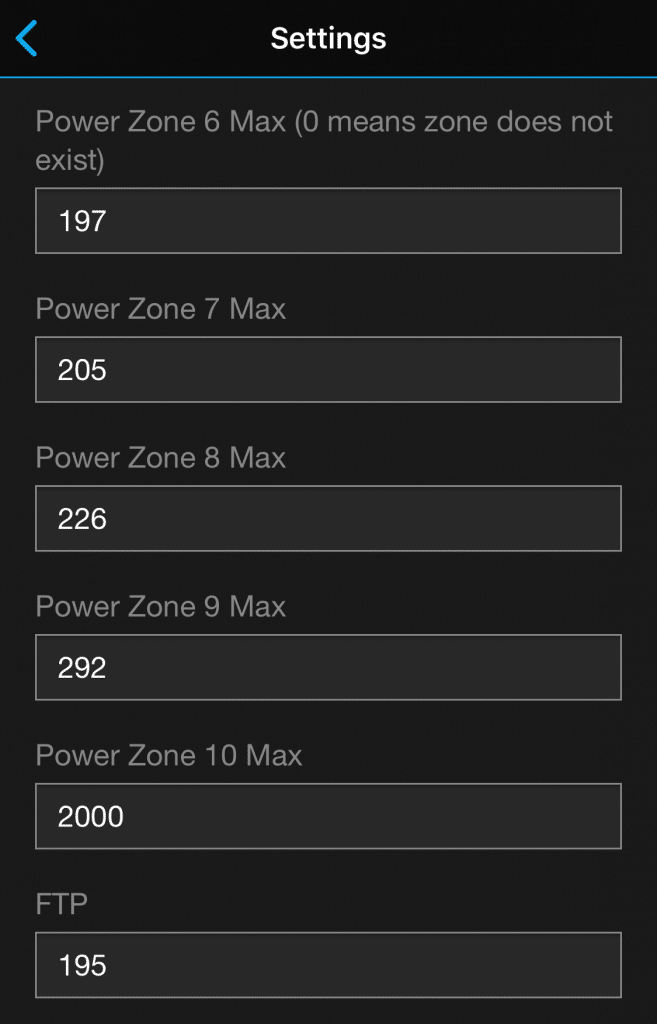 Power Zone and FTP Settings - Run Power Data Field