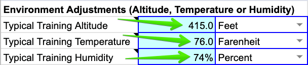 Typical Training Altitude, Temperature, and Humidity - SuperPower Calculator