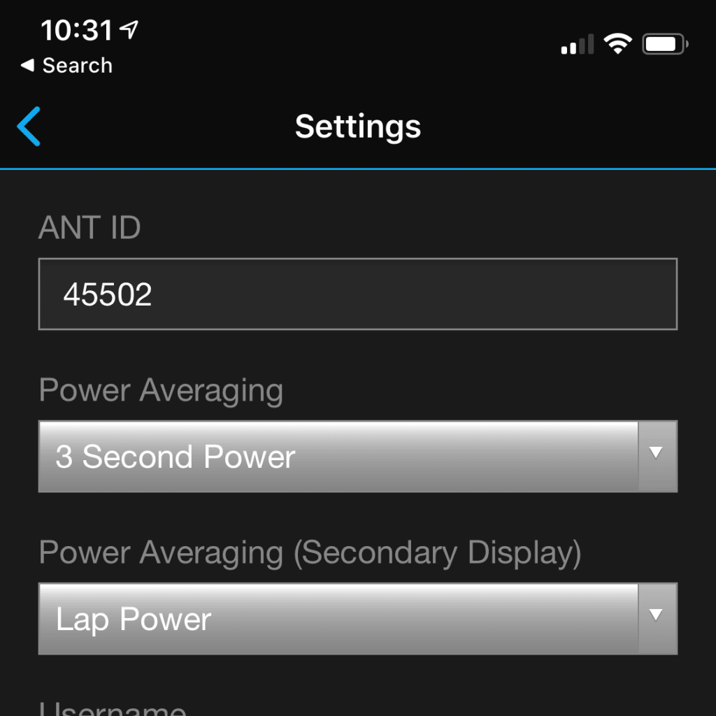 Stryd Power data field settings